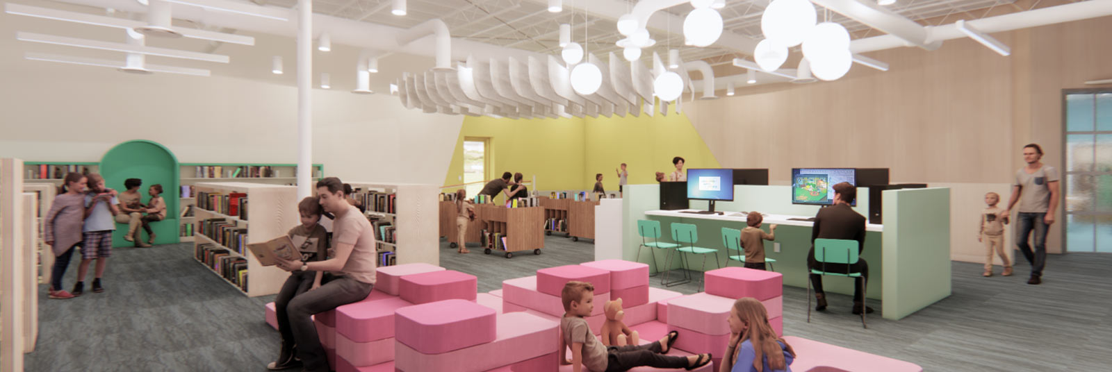 Rendering of the children's space in the new Deer Park Library.