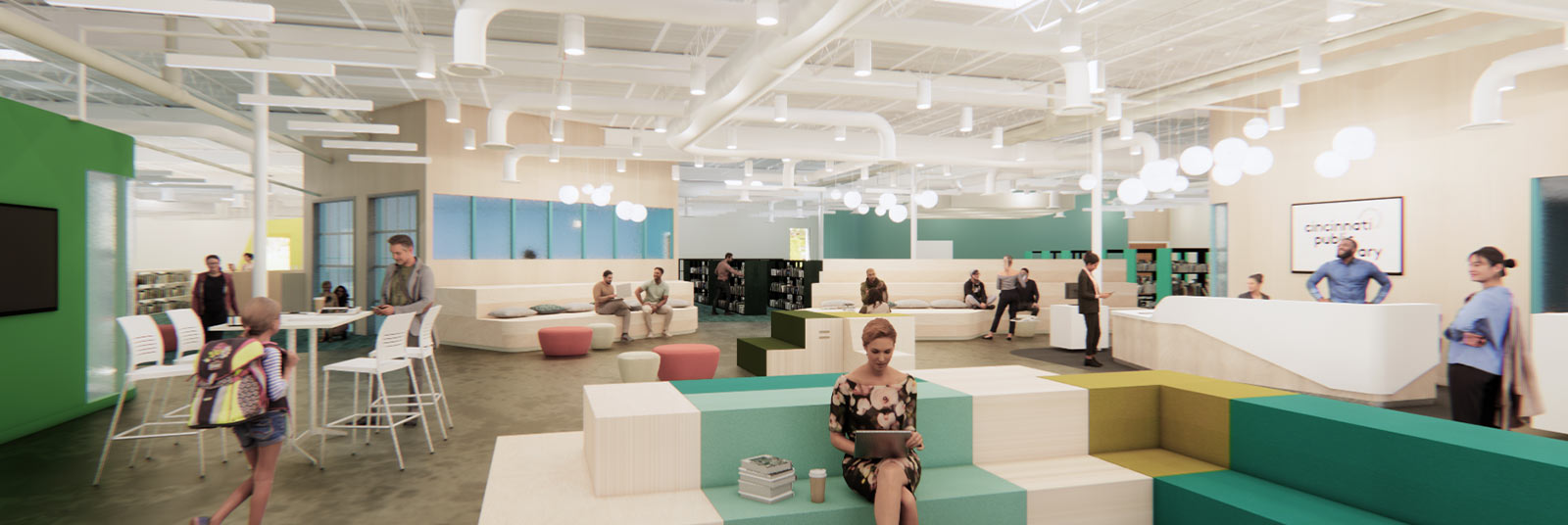 Rendering of the marketplace inside the new Deer Park Library.