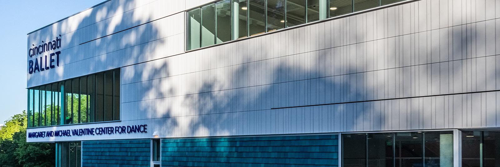 The front facade of the new Cincinnati Ballet facility.