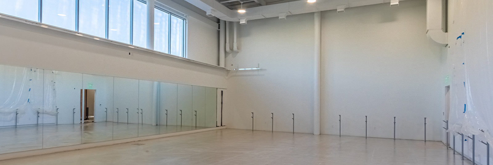 A finished ballet studio at the new Cincinnati Ballet facility.