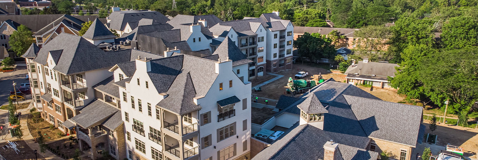 Aerial view of the construction progress at The Fairfax.